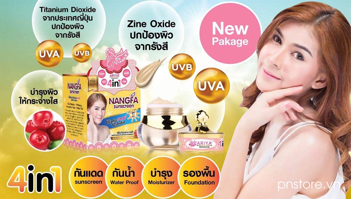 Kem Nangfa Sunscreen SPF 50 PA+++ chống nắng và dưỡng trắng da 4 in 1