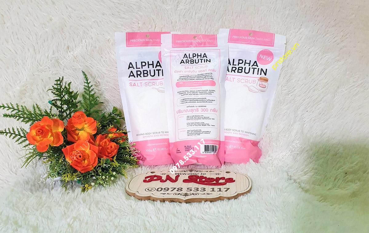 Muối tắm Alpha Arbutin Salt Scrub tẩy tế bào chết dưỡng da trắng mịn chính hãng (Thái Lan)