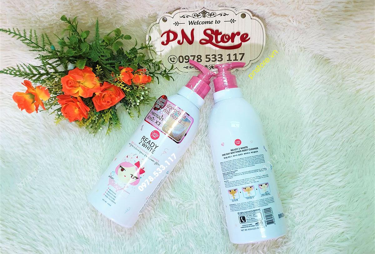 Sữa tắm dưỡng trắng da Cathy Doll Ready 2 White One Day Whitener 450ml chính hãng (Thái Lan)
