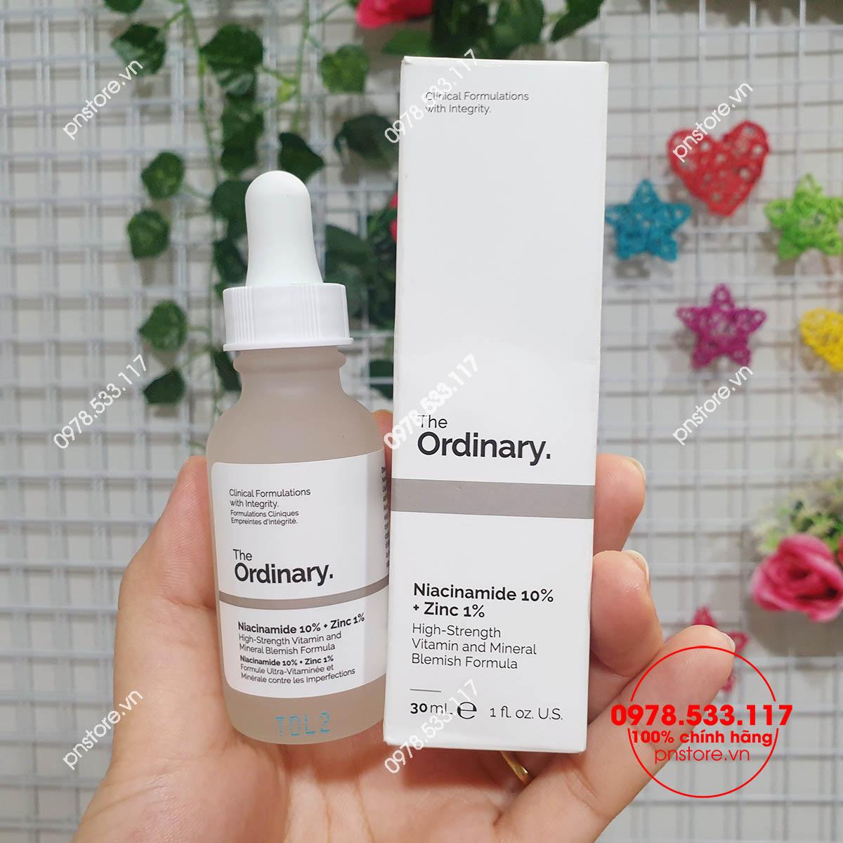 Tinh chất serum The Ordinary Niacinamide 10% + Zinc 1% trị mụn sáng da mờ thâm chính hãng (Canada)