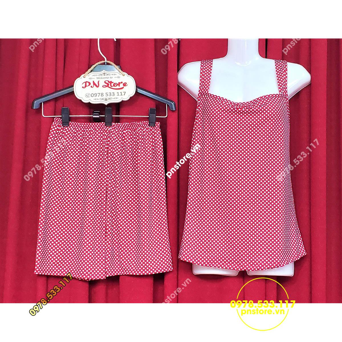 (45-62kg) Đồ bộ đùi thun mặc nhà quai bảng chấm bi dễ thương - PN45519