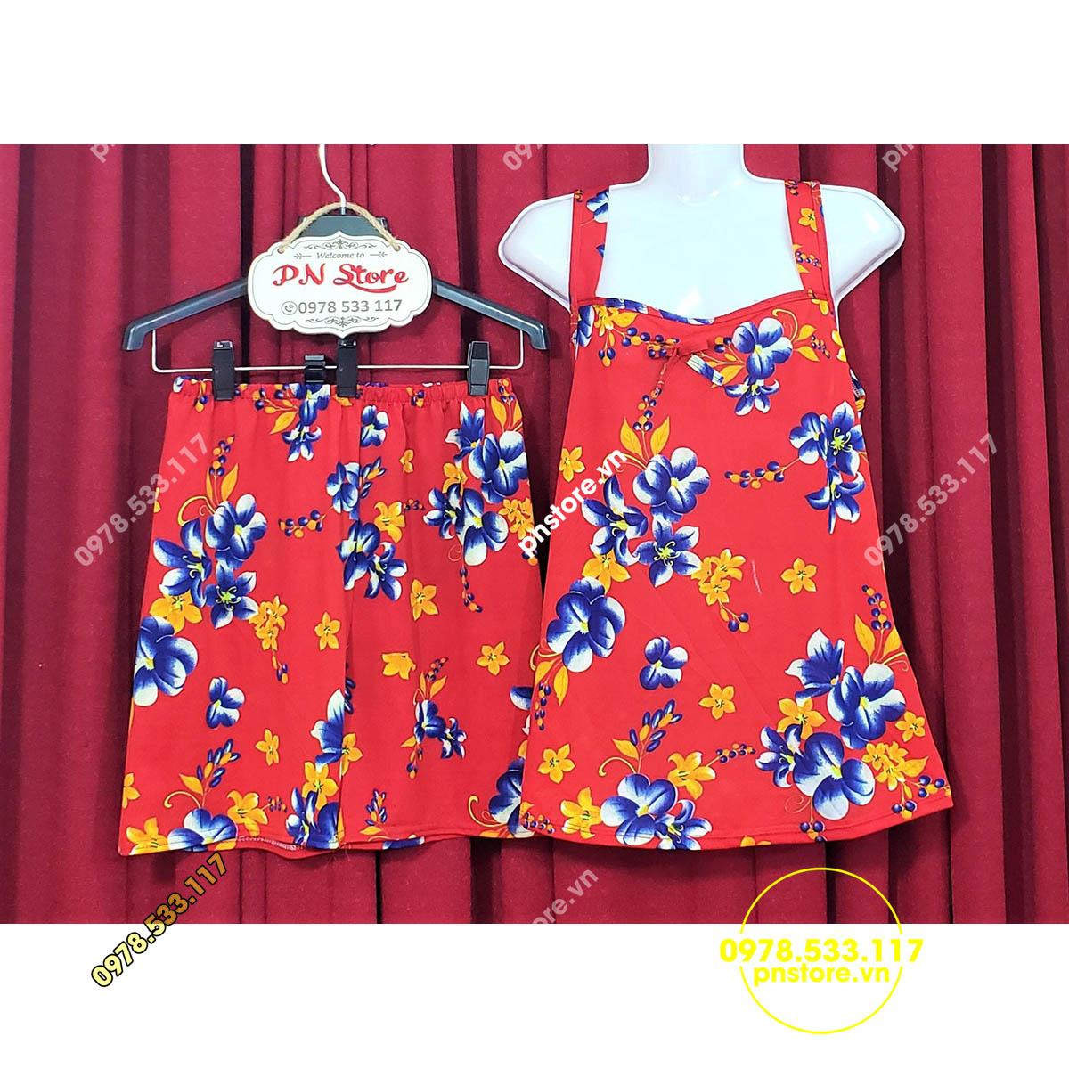 (45-62kg) Đồ bộ đùi thun mặc nhà quai bảng nhiều họa tiêt hoa - PN8804