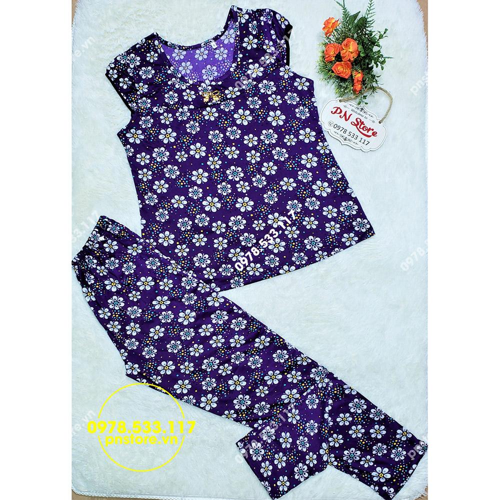 (50-65kg) Đồ bộ dài mặc nhà vải thun ati họa tiết hoa xinh xắn - PN71458