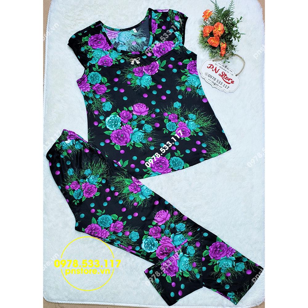(50-65kg) Đồ bộ mặc nhà dài thun ati cổ tròn hoa đẹp - PN78403