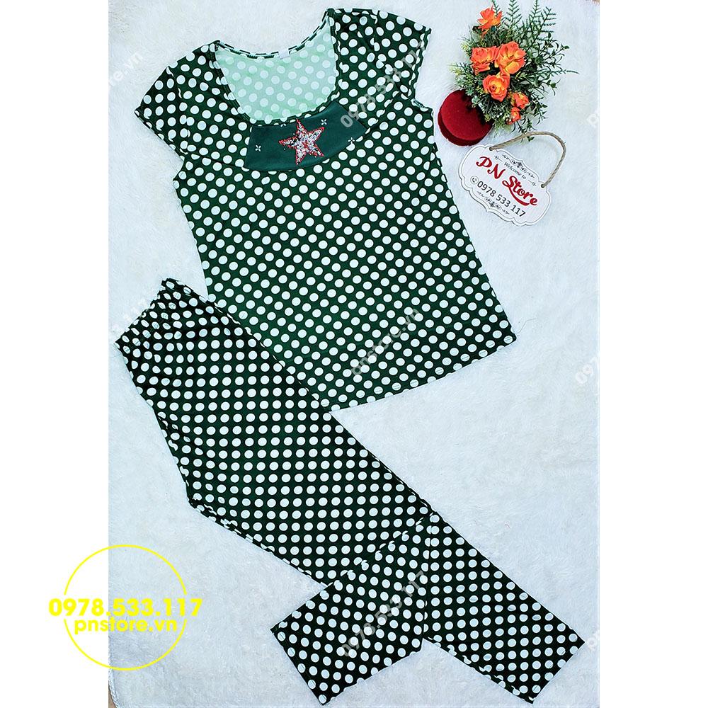 (50-65kg) Đồ bộ mặc nhà quần dài thun Ati họa tiết chấm bi - PN99232