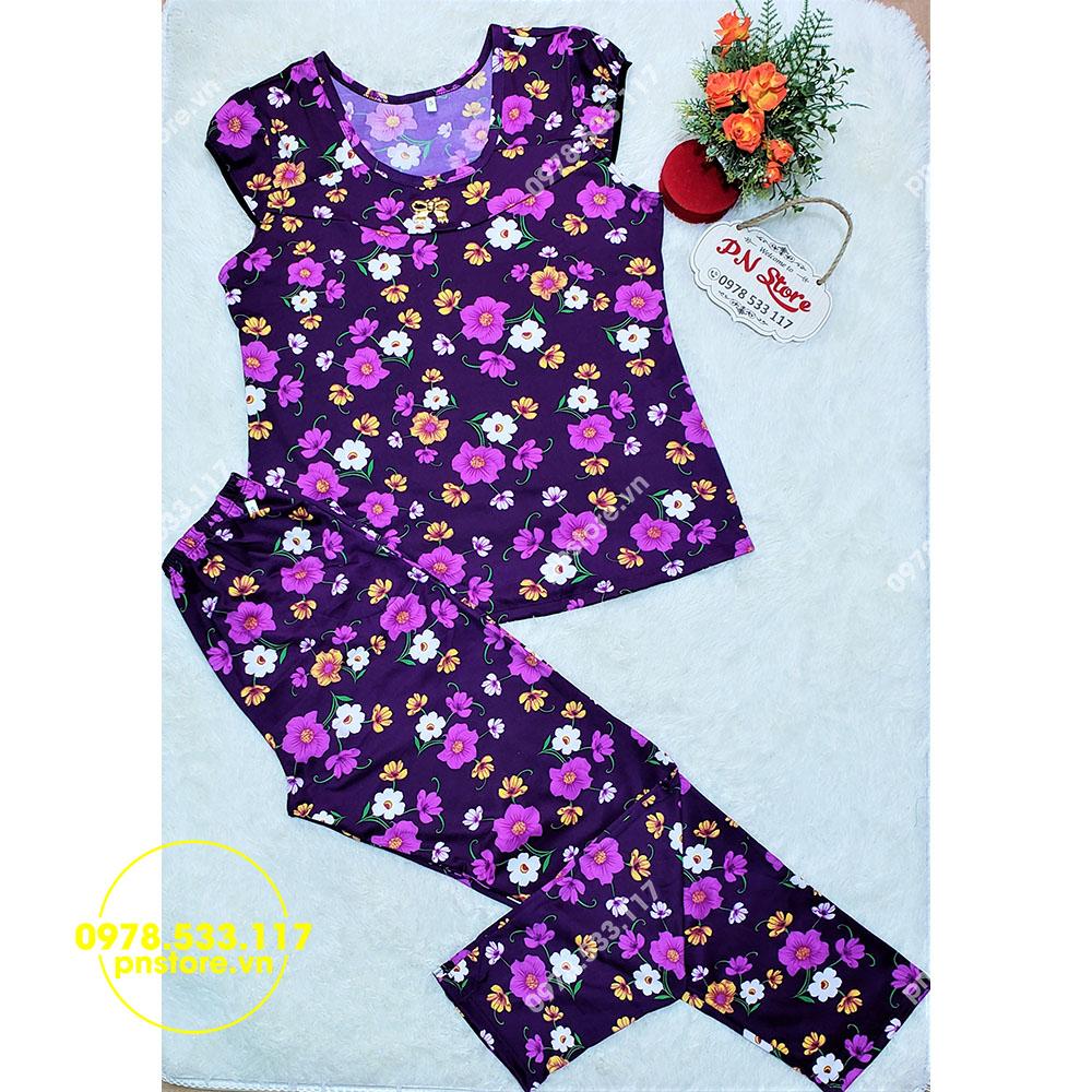 (50-65kg) Đồ bộ mặc nhà quần dài thun ati họa tiết hoa đẹp - PN70752