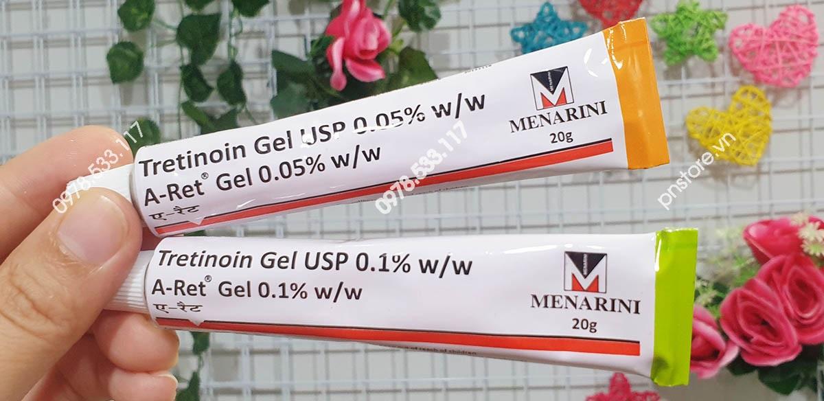 Tretinoin Gel USP A-ret 0.05% - 0.1% Menarini trị mụn & chống lão hóa chính hãng Ấn Độ (20g)