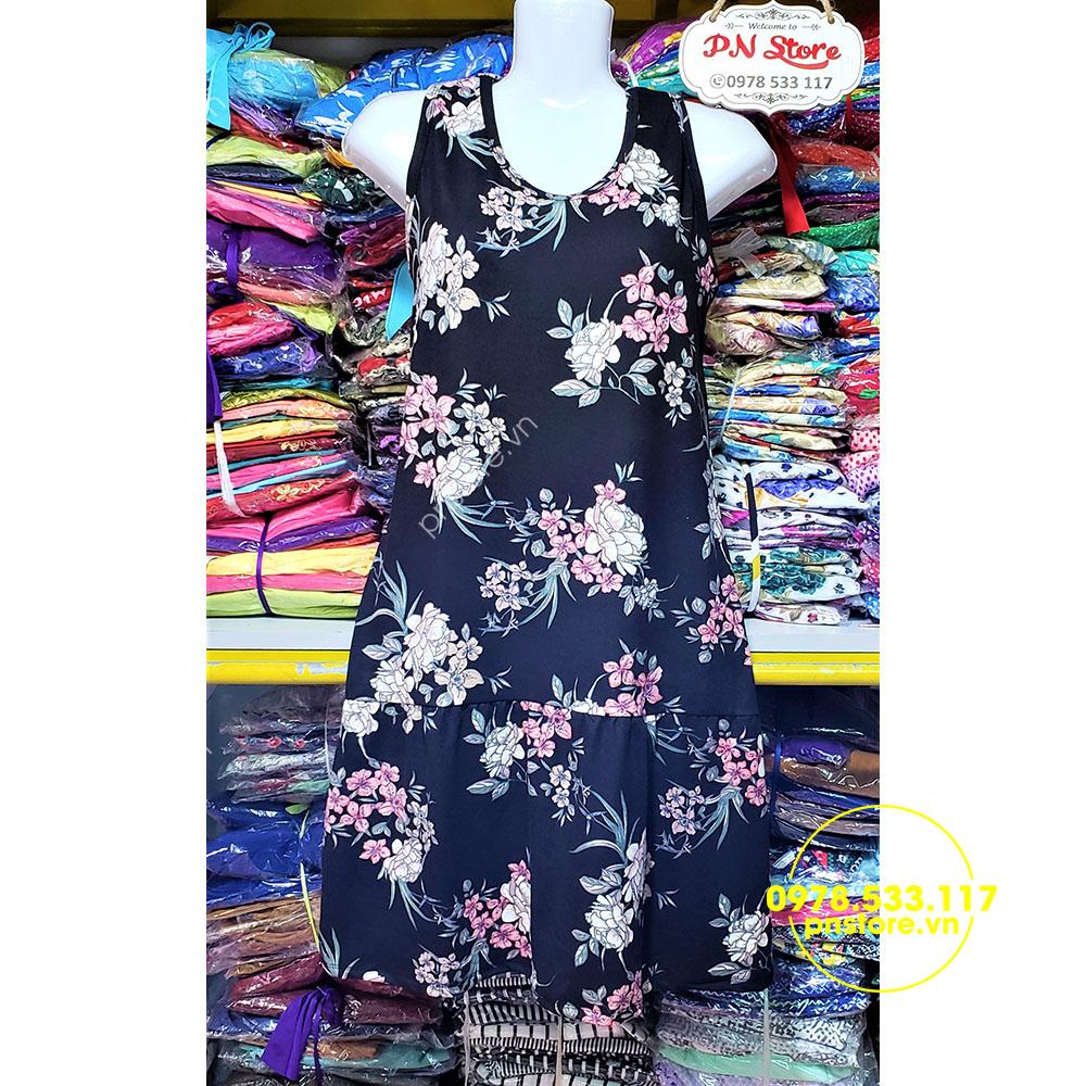 (40-60kg) Đầm ngủ thun lụa họa tiết thổ cẩm hoa lá - PN41928