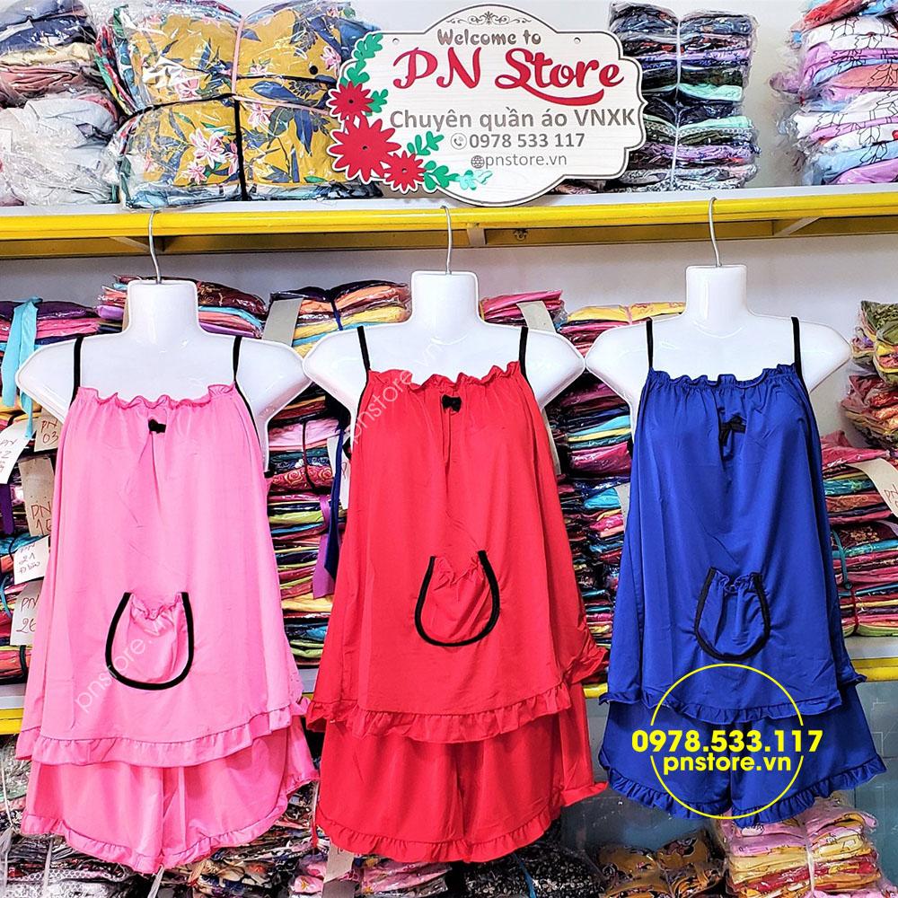 pnstore.vn - (40-60kg) Đồ bộ đùi dây thun lạnh dún ngực phối túi dễ thương