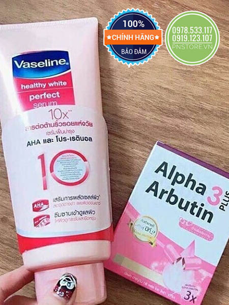 Set combo Vaseline 10X và Viên kích trắng da Alpha Arbutin vỉ 10 viên chính hãng (Thái Lan)