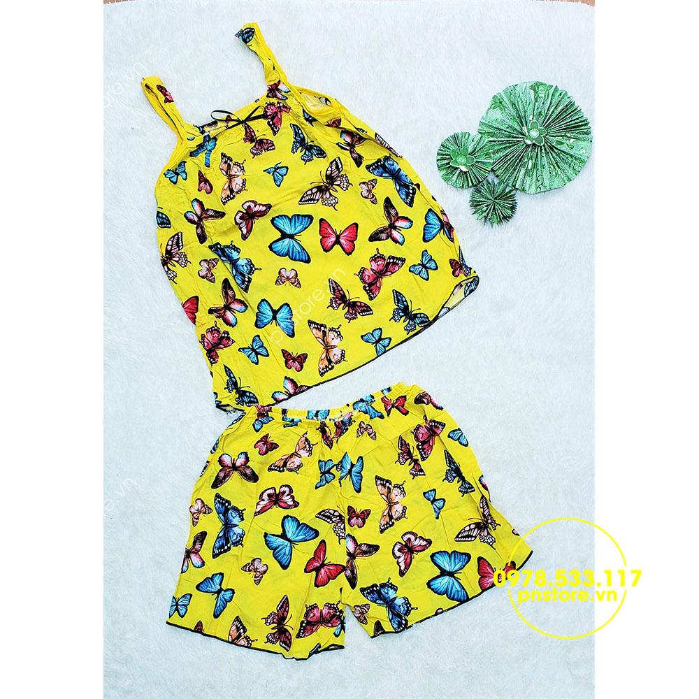 Sỉ đồ bộ đùi tole họa tiết hoa bướm siêu mát - pnstore.vn