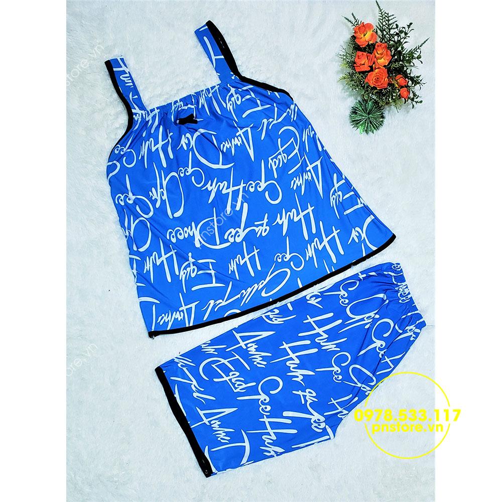 Sỉ đồ bộ lửng thun lạnh viền lai họa tiết chữ đẹp