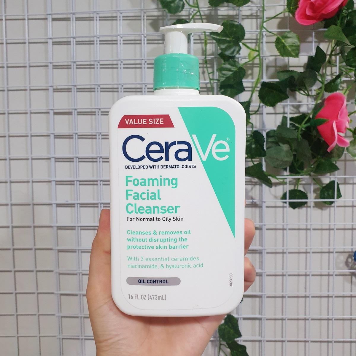 Sữa rửa mặt Cerave Foaming Facial Cleanser 473ml dành cho da thường và da dầu chính hãng (Mỹ)